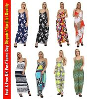 Womens Ladies Floral Printed Camisole Sleeveless Thin Strappy Maxi Long Dress
