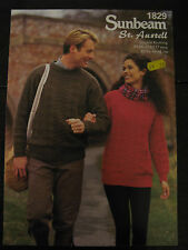 """Sunbeam Knitting Pattern: Mens & Ladies Cabled Sweater, DK, 32-46"""", 1829"""