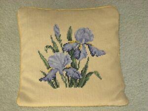"Vintage 1970's 12"" x 12"" Gold Iris Hand Sewn Needlepoint Decorative Pillow Rare"