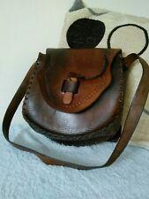 Vintage Handmade Leather with Wooden Clasp!! Shoulder Hand Bag # 22