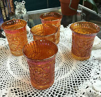 5 Imperial Glass Rubigold Carnival Lustre Rose Pattern 9 oz Flat Tumblers