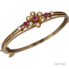 Antique EDWARDIAN 14k Yellow Gold Flower RUBY & SEED PEARL 'Trembling' BANGLE