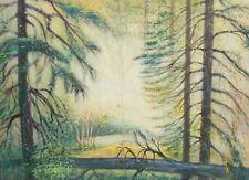 Impressionist pastel painting forest landscape signed