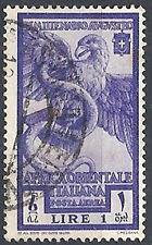 1938 AFRICA ORIENTALE ITALIANA USATO AUGUSTO POSTA AEREA 1 LIRA - RR12365