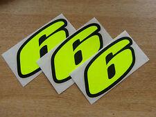 Juego De 3-Black & Fluorescente Amarillo número 6 Calcomanías / Stickers impacto 60mm