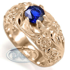 Etruscan Byzantine Style Ring For Men in 18k Solid Rose Gold & Ceylon Sapphire