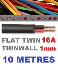 FLAT TWIN AUTO CABLE 2 CORE 1.0mm 16 AMP CAR WIRE 10m AUTOMOTIVE THINWALL 1mm