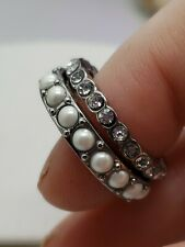 Ann Taylor set of two stackable rings size 5 silver  tone faux pearl rhinestones