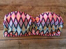 Warm Ikat Foil~34C~Victoria's Secret THE BABE BANDEAU Bikini Swimsuit Top VS!