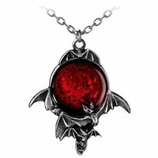 Alchemy Gothic Blood Moon Pendant Necklace - Red Bats Pewter England