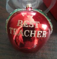 KURT S ADLER Christmas Ornament BEST TEACHER Apple School Vintage