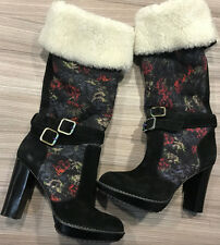 Paul Smith Womens SHEEPSKIN Lined Suede Floral Boots UK4 EU37