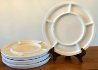 Set Of 4 New Crate & Barrel Round Ceramic White Divided Fondue Dinner Plate NWT