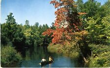 People Canoeing ~ Lake River Water Leisure Lifestyle Autumn Postcard