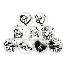 10-50pcs Assorted Black Musical Notes Glass Cabochon Flatback DIY Accessories