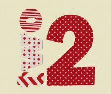 Little Girl 2nd Birthday Iron On Fabric Applique  Red Dot and Prints
