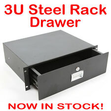 "3U Black Lockable Drawer 19"" Road Case Flight Rack Roadcase Flightcase 3RU Unit"