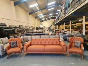 Brand new Everest tan brown fabric 3 seater sofa bed and 2 armchairs