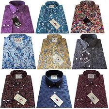 Relco Men's Paisley Shirt Long Sleeve Button Down Collar Retro Indie 60s Mod