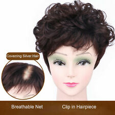 Short Curly Hair Topper Toupee 100% Human Hair Clip in Top Hairpiece Extensions