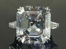 20CT Asscher White Diamond 925 Silver Elizabeth Taylor Inspired Engagement Ring