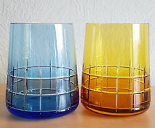 PAIR FRANCE CHRISTOFLE AZURE & YELLOW CRYSTAL WATER OR WHISKEY GLASSES