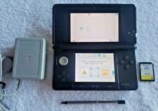 Nintendo 3DS Cosmo Black Game Console w/ OEM Charger, Stylus, SD Card - Tested!