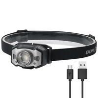 BORUiT LED Headlight XPG2 3030 210LM Zoomable Wave Sensor Headlamp Light