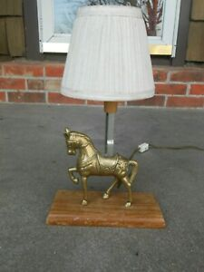 Vintage Equestrian Brass Horse Table Lamp
