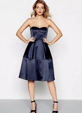 Debenhams Debut Navy Satin 'Sadie' Knee Length Prom Dress - Size 14 - BNWT £130