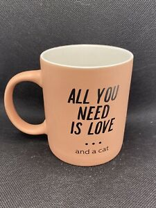 Paladone All You Need Is Love And Cats Pink Coffee Tea Mug Cup