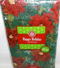"Christmas Vinyl Tablecloth  52"" x 90"" HOLIDAY POINSETTA'S    Seats 6-8"
