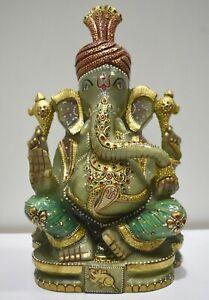 Ganesha Blessing Statue Of Aventurine Quartz Green Jade On Gold Painted Religion