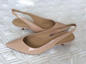 MICHAEL KORS  Nude Patent Leather Slingback Kitten Heels US 6,5