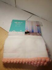 NEW (1) Pillowfort Pink Pom Sheer Window Curtain Panel 42x84