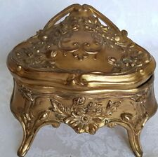ANTIQUE ART NOUVEAU ORNATE  FLORAL DESIGN FOOTED DRESSER VANITY BOX