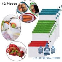 9/12/15 pcs Reusable Produce Bags
