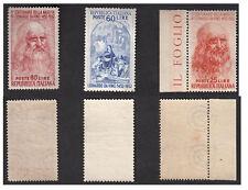 ITALIA 1952 5° Cent Nascita Leonardo Da Vinci 3 Val Nuovi Integri MNH** Ss 686-8