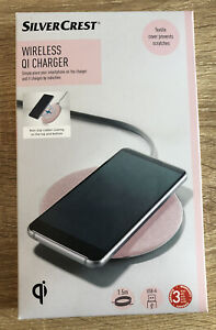 SilverCrest Pink Wireless QI Charger Textile Cover Prevents Scratches 10/5 Watt