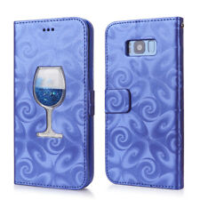 Glitter Liquid Glass Flip Leather Case For Samsung S9 Plus iPhone Wallet Cover