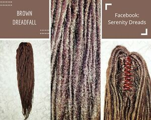 Serenity Dreads- Clip in Brown Synthetic Dreadfall Dreadlocks Dreads