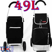 New EAGLE 49L LARGE LIGHT WEIGHT 2 WHEEL SHOPPING TROLLEY PULL CART BAG BLACK