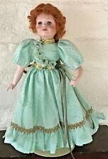 Porcelain Doll By Patricia Rose Mint Green Dress Hazel Hair Green Eyes Eyelashes