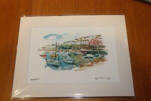 """David Kearney watercolour/pen Brixham Devon (A5for8""""x10""""frame)Mount"""