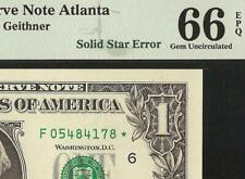 2009 $1 DOLLAR BILL SOLID STAR ERROR NOTE CURRENCY PAPER MONEY PMG 66 EPQ GEM