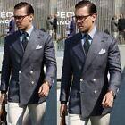 Men Double-breasted Denim Blue Blazer Wide Lapel Four Button Double Vent Suits