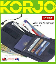 Korjo Travel Waist and Neck Pouch Zip Money Passport Document Holder Wallet Bag