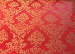 Madagascar Designer Curtain Brocade Damask in Red | Curtain Upholstery Fabric