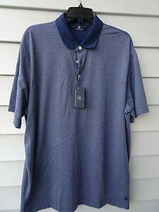 NWT HART SCHAFFNER MARX Size L Large Short Sleeve Cotton POLO SHIRT BLUE