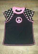 peace sign polka dot girls tween rashguard swim shirt sz 12 EUC uv protection